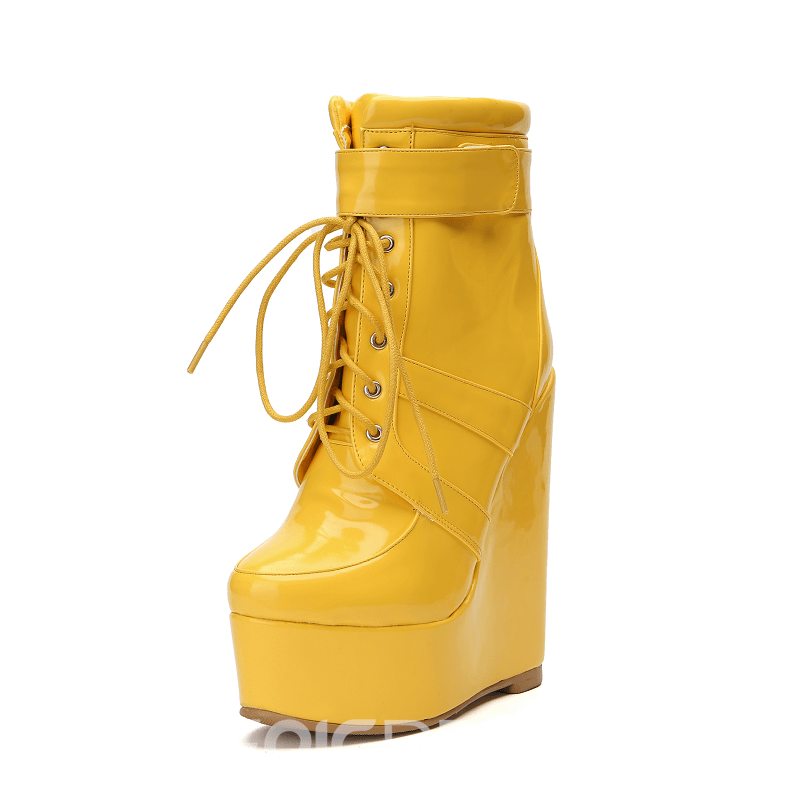 Ericdress Plain Lace-Up Front Wedge Heel Women's Ankle Boots