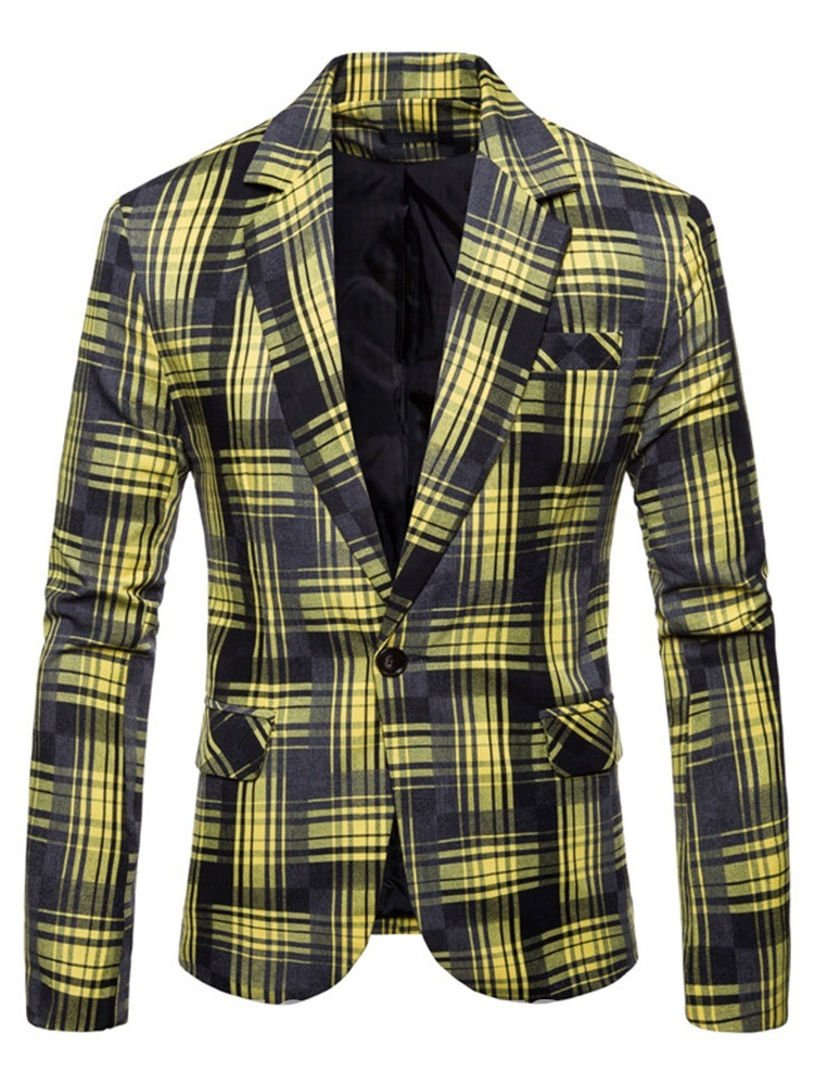 Ericdress Plaid Color Block Patchwork One Button Mens Casual Blazer Jacket