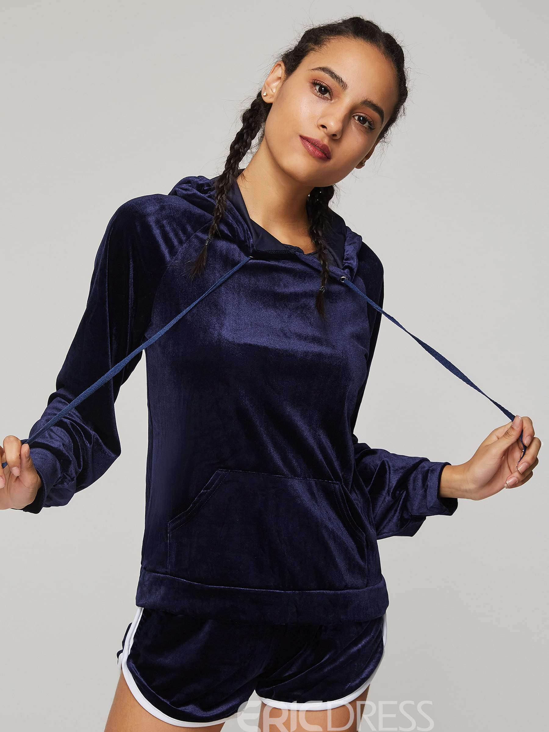 Ericdress Pleuche Hoodie and Shorts Pocket Women's Two Piece Set