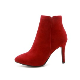 Ericdress Suede Pointed Toe Stiletto Heel Women's Ankle Boots