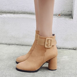 Ericdress Patchwork Round Toe Chunky Heel Ankle Boots