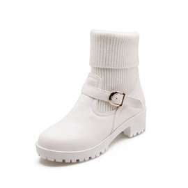 Ericdress Patchwork Round Toe Block Heel Women's Snow Boots