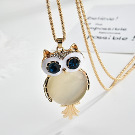 Ericdress Owl Gems Sweater Chain Necklace