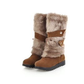 Ericdress Round Toe Wedge Heel Snow Boots