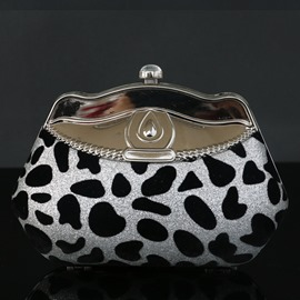 Ericdress Shell Shaped Rhinestone Leopard Clutch