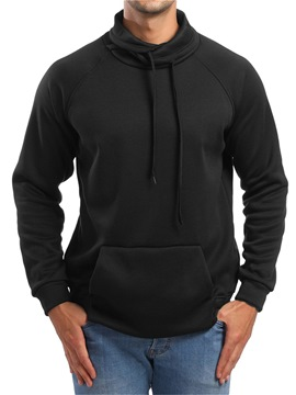 Ericdress Plain Heap Collar Pullover Mens Casual Sweatshirts Hoodies