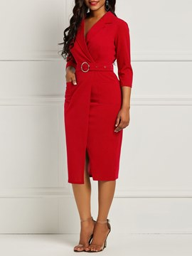 Ericdress Bodycon Half Sleeves Red Women's Dress