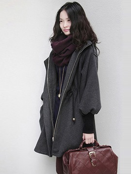 Ericdress Zipper Loose Hooded Fall Overcoat
