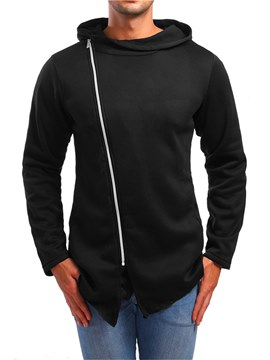 Ericdress Plain Asymmetric Zipper Cardigan Mens Casual Hoodies