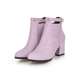 Ericdress Round Toe Side Zipper Chunky Heel Ankle Boots