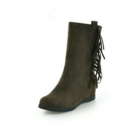 Ericdress Fringe Side Zipper Hidden Elevator Heel Boots