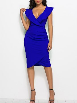 Ericdress Bodycon V-Neck Ruffles Women's Dress