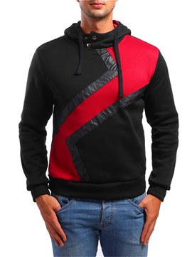 Ericdress Patchwork Hooded Button Pullover Mens Casual Hoodies