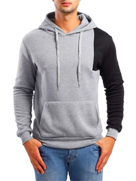 Ericdress Color Block Hooded Patchwork Pullover Mens Casual Hoodies