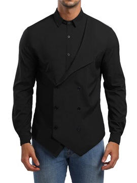 Ericdress Plain Button Lapel SLim Mens Unique Casual Shirts
