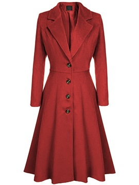 ericdress revers long décontracté trench-coat uni
