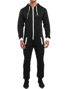Ericdress Plain Zipper Patchwork Mens Casual Jumpsuits Pajamas