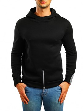 Ericdress Plain Hooded Zip Designed Pullover Mens Casual Hoodies