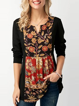 Ericdress Print Floral Mid-Length Long Sleeve T-shirt
