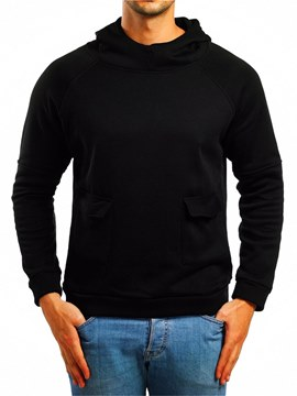 Ericdress Plain Hooded Pullover Mens Casual Pocket Hoodies