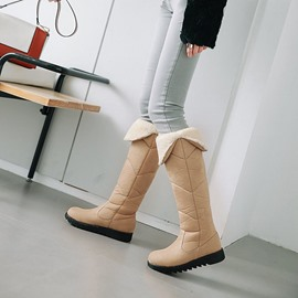 Ericdress Round Toe Wedge Heel Slip-On Snow Boots