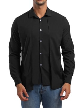 Ericdress Plain Lapel Single Brested Mens Unique Shirts
