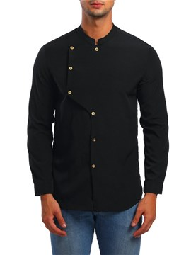 Ericdress Plain Stand Collar Single Breasted Mens Casual Shirts