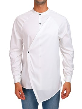 Ericdress Plain Slim Stand Collar Mens Casual Unique Shirts