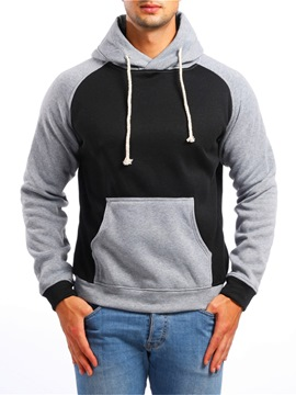 Ericdress Color Block Patchwork Mens Casual Hoodies