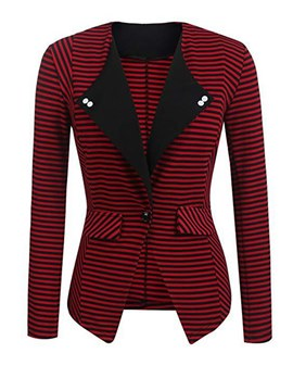 Ericdress Pocket One Button Stripe Notched Lapel Blazer