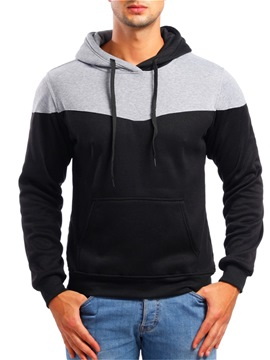 Ericdress Patchwork Color Block Pullover Mens Casual Hoodies