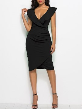 Ericdress Bodycon V-Neck Asymmetric Women's Dress