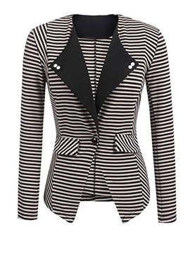 Ericdress One Button Stripe Notched Lapel Blazer