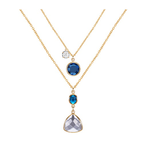 Ericdress Gems Double Chain Charm Necklace