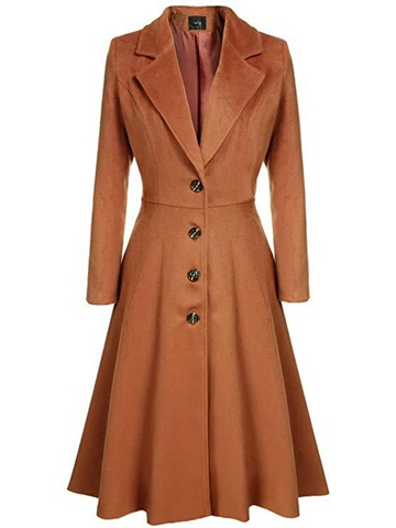 Ericdress Slim Tunic Notched Lapel Long Plain Trench Coat