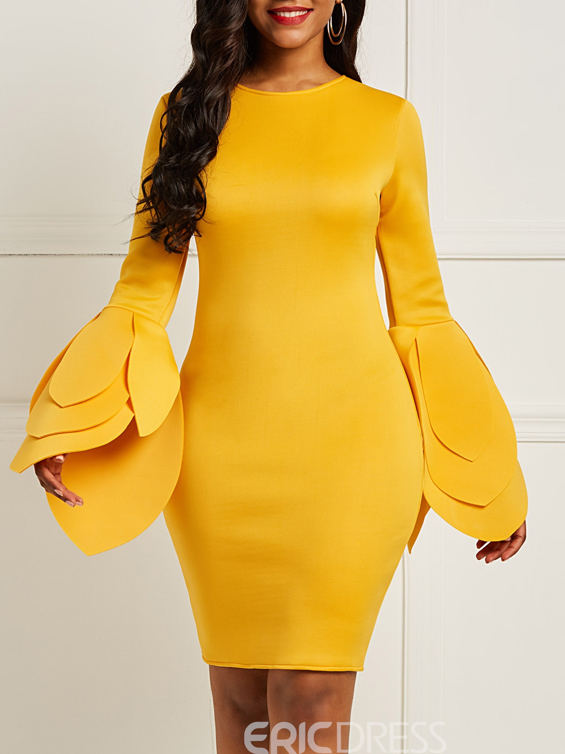 ericdress robe moulante manches longues jaune femmes