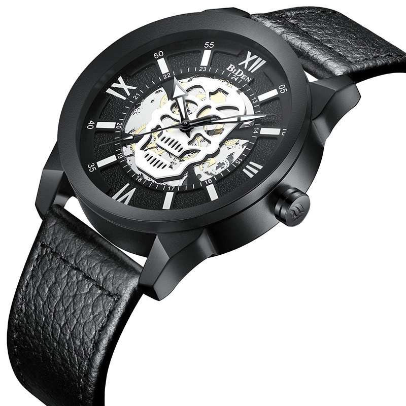 Ericdress Leather Band Skull Men's Watch