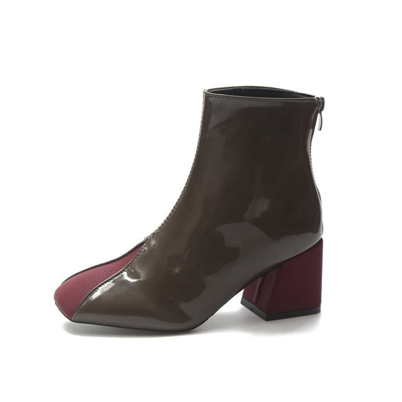 Ericdress Patchwork Square Toe Chunky Heel Women's Ankle Boots