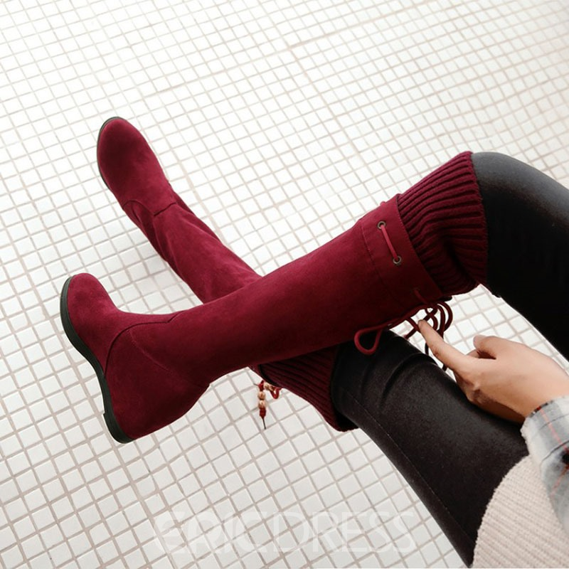 Ericdress Round Toe Hidden Elevator Heel Knee High Boots
