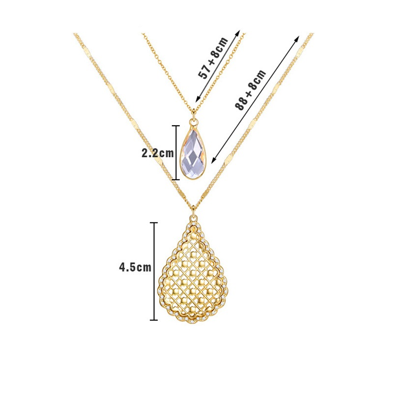 Ericdress Double Chain Gems Necklace For Women