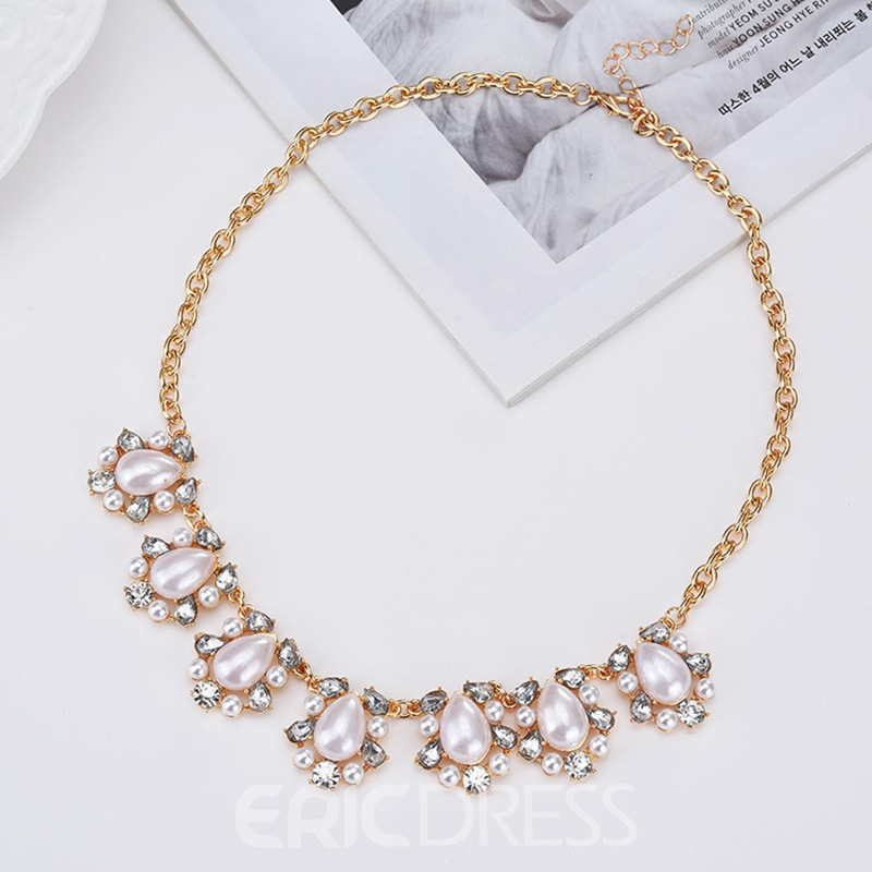Ericdress Marquise Diamante Necklace