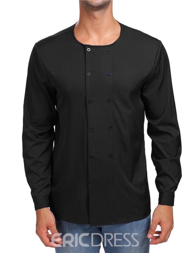 Ericdress Plain Collarless Double Breasted Slim Mens Casual Shirts