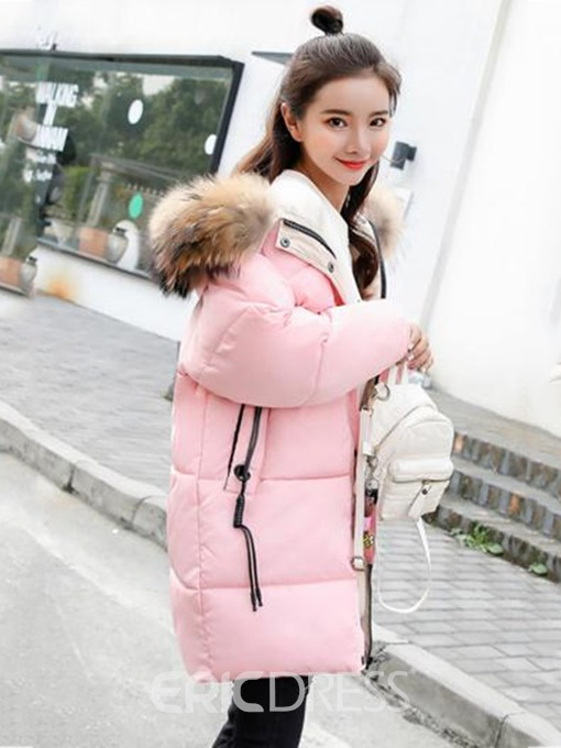 Ericdress Plain Patchwork Faux Fur Long Sleeve Coat