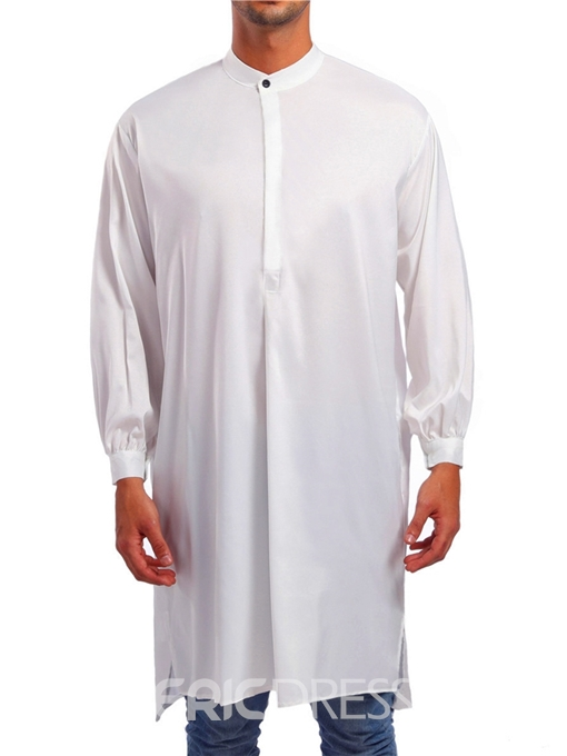 Ericdress Plain Mid-Length Stand Collar Single Breasted Mens Casual Shirts