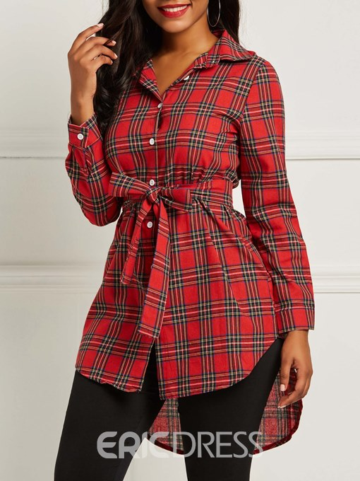 Ericdress Single-Breasted Polo Neck Mid-Length Tie Front Top