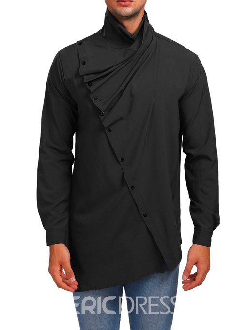 Ericdress Plain Asymmetric High Neck Zipper Mens Unique Shirts