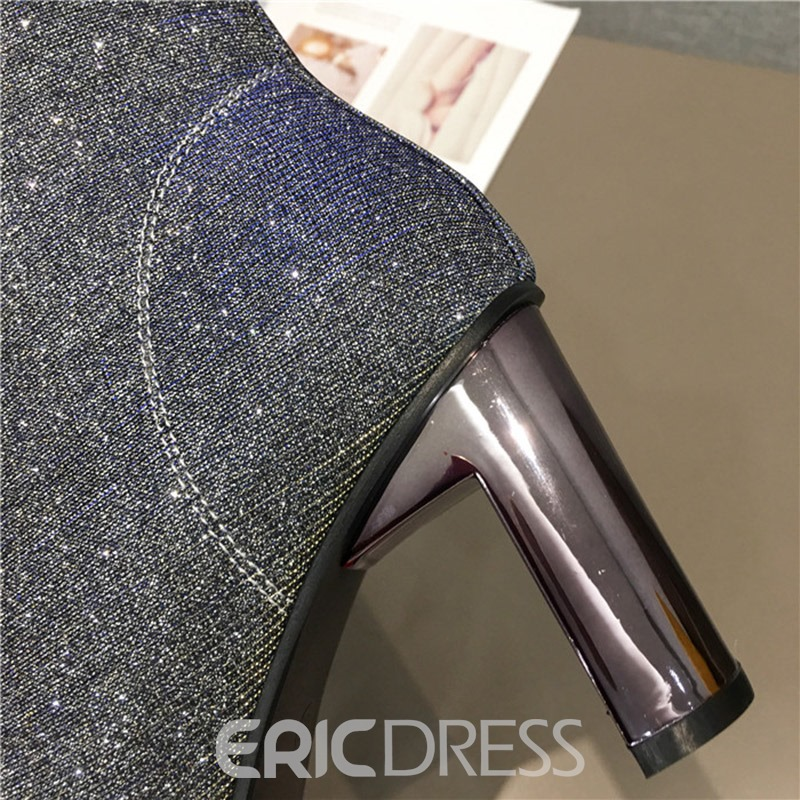 Ericdress Sequin Square Toe Chunky Heel Ankle Boots