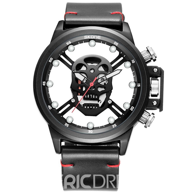 Ericdress Skull Hollow Out Noctilcent Men's Watch