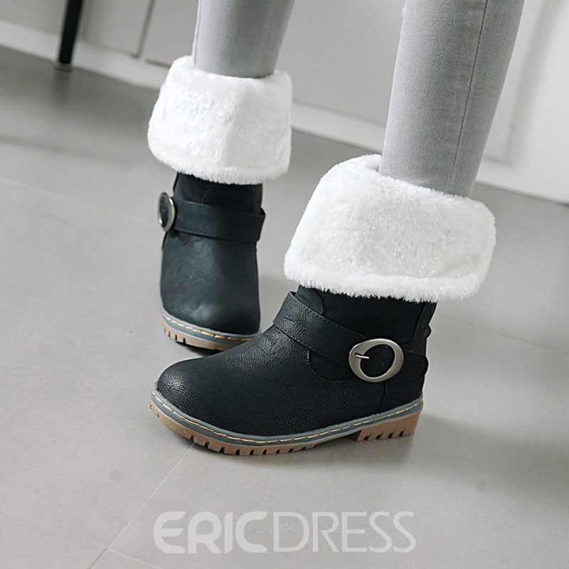 Ericdress Plain Round Toe Block Heel Snow Boots