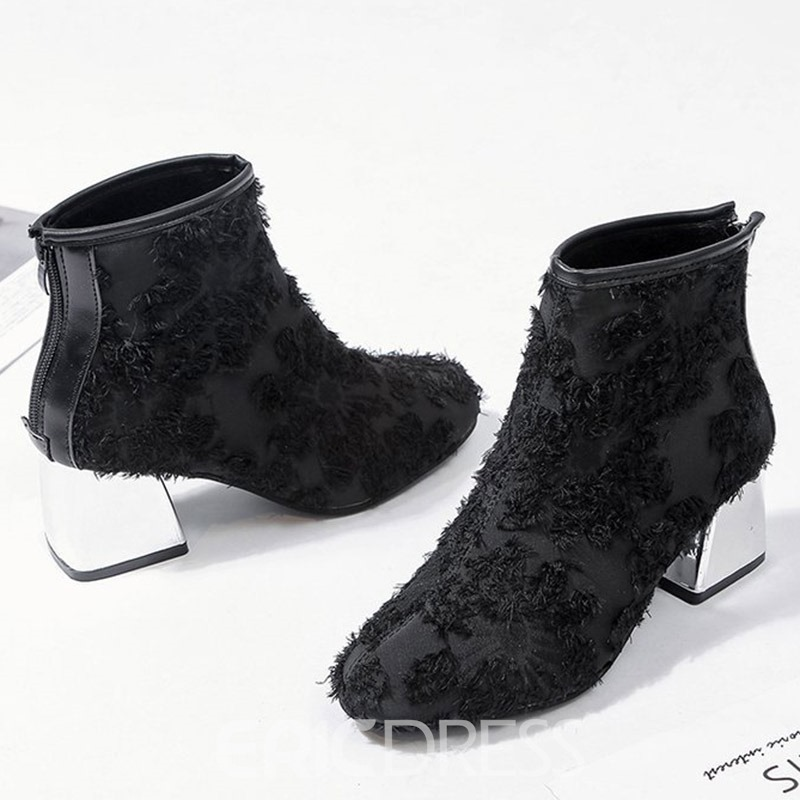 Ericdress Round Toe Back Zip Chunky Heel Ankle Boots
